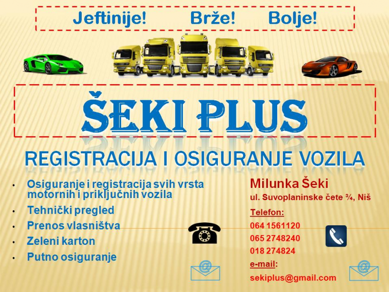 Šeki Plus Registracija i Osiguranje